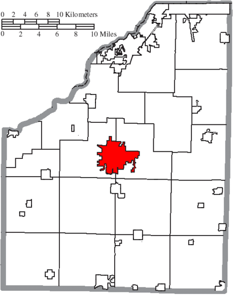 Datei:Map of Wood County Ohio Highlighting Bowling Green City.png