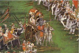 Abb. 1 Das indische Nationalepos Mahabarata berichtet von einem 'großen Krieg', dessen Ausgang das Ende einer Menschheitsepoche besiegelte.