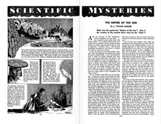 "Abb. 3 Einer von L. Taylor Hansens Artikeln aus ihrer Amazing Stories-Kolumne 'SCIENTIFIC MYSTERIES, ""The Empire of the Sun"", Vol. 21, No. 06"