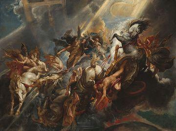 """Abb. 1 Das berühmte Gemälde """"Der Sturz des Phaethon"""" von Peter-Paul Rubens, entstanden um 1604/1605. In der antiken Überlieferung vom Göttersohn Phaethon, der bei seiner Irrfahrt über den Himmel und dem nachfolgenden Sturz auf die Erde die Welt in Flammen setzt, erkennen nicht wenige ForscherInnen inzwischen den Nachhall eines wahrhaft kataklysmischen Ereignisses am Ende der Bronzezeit. Inzwischen ist allerdings davon auszugehen, dass dieses Ereignis keineswegs singulärer Natur war, sondern lediglich eine von diversen kosmisch bedingten großen Katastrophen darstellt, die """"vielerlei Untergänge der Menschen"""" hervorriefen, wie einst schon Platon berichtete."""